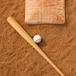 Baseball & Bat near Base — Stock Photo