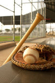 Baseball Bat and Glove in the Dugout — Stock Photo