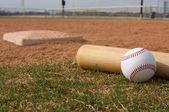 бейсбол & летучая мышь — Стоковое фото