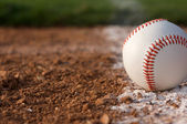 Baseball Close up on the Chalk Line — Stock Photo