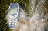 Flowing Water Cellphone — Stock Photo