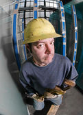 Working Man in Hard Hat — Stock Photo