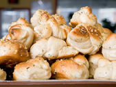 Garlic knots in a display — Stock Photo