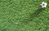 Plasticine Football on grass background — Foto Stock