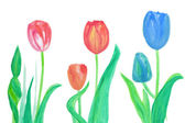 Color flowers in watercolor hand painted, isolated — Stock Photo