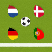Soccer football de drapeau sur fond d'herbe — Photo