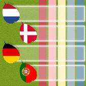 Football soccer of flag on grass background — Stok fotoğraf