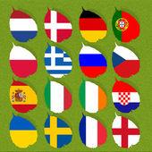 Flagge fußball auf grünem gras hintergrund — Stockfoto