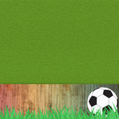 Football soccer on grass and wood background — Stock Photo
