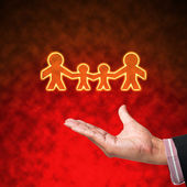 Family of light with hand on abstract background — Stock Photo