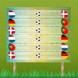 Group stage and billboard of football on grass background - Stockfoto