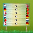 Group stage and billboard of football on grass background - Stok fotoğraf