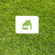 Icon home on green grass,  texture background - Stok fotoğraf