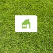 Icon home on green grass,  texture background - ストック写真