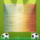 Football and Billboard on grass background and texture — 图库照片