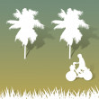 Stock Photo: Child with Bicycle of paper cut on grass background