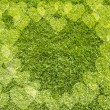 Icon Heart on green grass,  texture background — Stock Photo