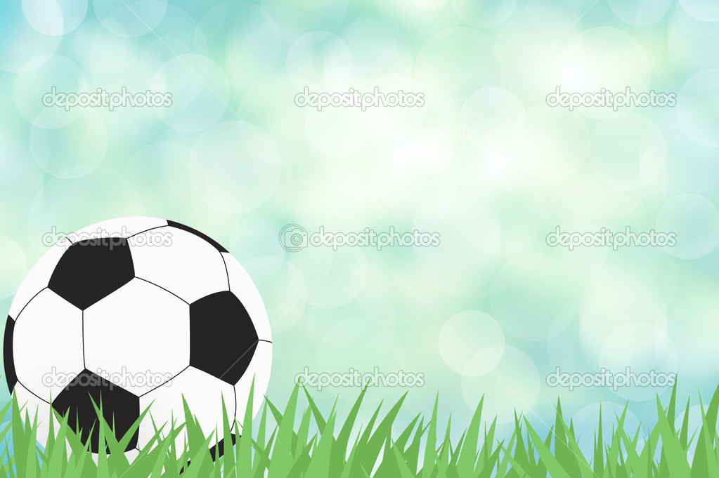 Football with green grass on color abstract  background  Stock Photo #11720078