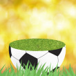 Football with green grass on color abstract background — Stock Photo