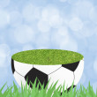 Football with green grass on color abstract  background — Stok fotoğraf