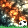 Football with green grass on color abstract  background — ストック写真