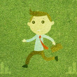 Business man on green grass texture and  background - Stock Photo