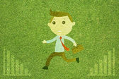 Business man on green grass texture and background — Stock Photo