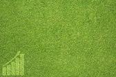 Icona grafico sulla trama di erba verde e lo sfondo — Foto Stock