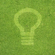 Bulb light icon on green grass texture and  background — Stock Photo #11947009