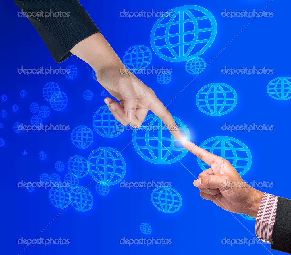 Hand pushing global button on a touch screen interface — Stock Photo #11942970