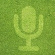 Microphone icon on green grass texture and background — Foto de stock #11976660