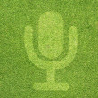 Microphone icon on green grass texture and background — Stock fotografie #11976660