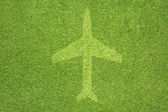 Airplane icon on green grass texture and background — Stock Photo