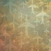 Airplane icon on old paper background and pattern — Stock Photo