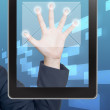 Hand pushing mail icon tablet on a touch screen blank interface — Stock Photo