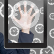 Hand pushing clock icon tablet on a touch screen blank interface — Stock Photo #12066349
