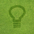 Bulb light icon on green grass texture and background — Stock Photo