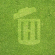 Trash on green grass texture and  background — Stock Photo