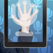 Hand pushing microphone icon tablet on a touch screen blank interface — Foto Stock