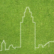 City on green grass texture and  background — Foto de Stock