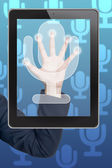 Hand pushing microphone icon tablet on a touch screen blank interface — Stock Photo