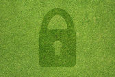 Key icon on green grass texture and background — Stock Photo