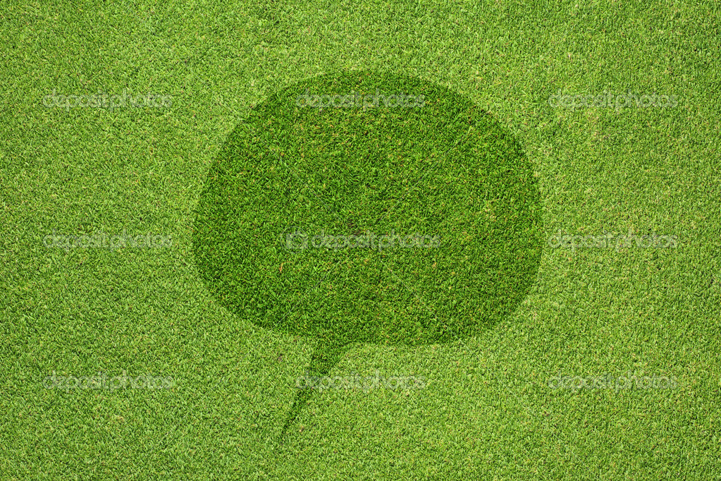 Comment icon on green grass texture and  background — Stock Photo #12194065