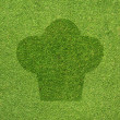 Cook icon on green grass texture and  background — Photo