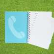 Stock Photo: Book with telephone icon on grass background