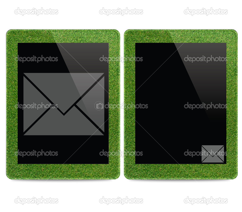 Mail icon on tablet computer background — Stock Photo #12226152