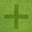 Stock Photo: Plus icon on green grass texture and background