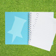 Book with pin icon on grass background — Stock Photo