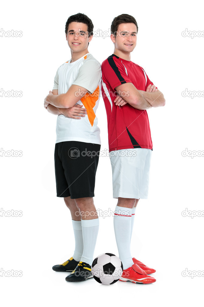 Soccer players standing  back to back. Isolated on white background — Stock Photo #11162069
