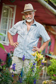 Senior man in the garden — Stock Photo
